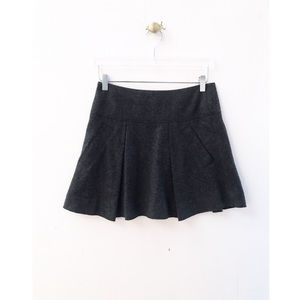 vince / gray wool fit flare mini skirt with pocket